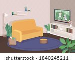 modern living room flat color... | Shutterstock .eps vector #1840245211