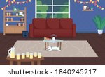 house party flat color vector... | Shutterstock .eps vector #1840245217