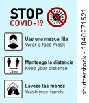 stop covid 19 icons in spanish... | Shutterstock .eps vector #1840271521
