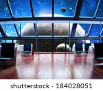 Exploration, Modern interior view of a celestial planet. - stock photo