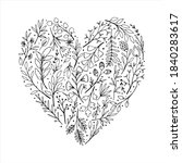 Black And White Floral Heart....