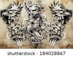 tattoo sketch  handmade design... | Shutterstock . vector #184028867