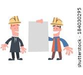 engineer showing paper to... | Shutterstock .eps vector #184030295