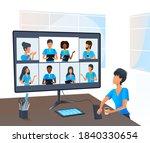 beautiful young woman having... | Shutterstock . vector #1840330654