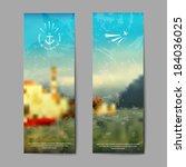 vector summer landscape... | Shutterstock .eps vector #184036025