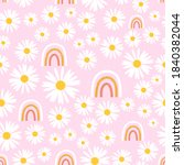 seamless pattern with daisy... | Shutterstock .eps vector #1840382044