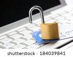 unlocked padlock on a credit... | Shutterstock . vector #184039841