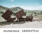 Old Rusty Mining Ore Carts On...