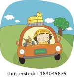 illustration of a girl driving... | Shutterstock . vector #184049879
