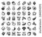Set of flat icons about vegan food and drink
