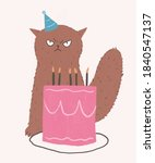 a birthday cake and angry cat... | Shutterstock . vector #1840547137