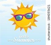 summer blue sky with sun... | Shutterstock .eps vector #184055621