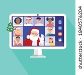 santa claus having video... | Shutterstock .eps vector #1840576204