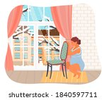 pregnant woman is squatting ... | Shutterstock .eps vector #1840597711