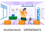 a guy with a camera takes... | Shutterstock .eps vector #1840606651