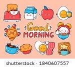cute happy breakfast food good...   Shutterstock .eps vector #1840607557
