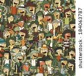 singing children seamless... | Shutterstock .eps vector #184063787