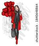 a beautiful girl in a stylish... | Shutterstock .eps vector #1840648864