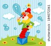 clown blows bubbles   vector... | Shutterstock .eps vector #184072361