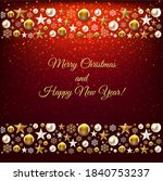 christmas border with golden... | Shutterstock .eps vector #1840753237