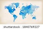 blue world map on vintage paper ...   Shutterstock .eps vector #1840769227