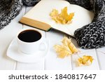 yellow autumn leaves  coffee... | Shutterstock . vector #1840817647