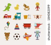 Toys Icons On White Background...