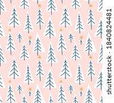 vector winter forest seamless...   Shutterstock .eps vector #1840824481