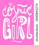 cosmic girl doodle text. hand... | Shutterstock .eps vector #1840842274