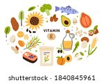 collection of vitamin e sources.... | Shutterstock .eps vector #1840845961