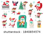 cartoon christmas characters... | Shutterstock .eps vector #1840854574