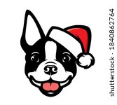 Boston Terrier Dog With Santa...