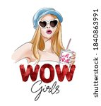 wow girls sequins slogan with... | Shutterstock .eps vector #1840863991