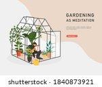 gardening as meditation. woman...   Shutterstock .eps vector #1840873921