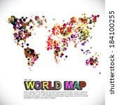 colorful   dotted world map | Shutterstock .eps vector #184100255