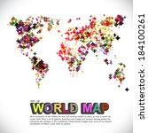 colorful   dotted world map | Shutterstock .eps vector #184100261