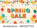 spring sale greeting card with...   Shutterstock .eps vector #1841027731