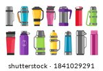 thermos vacuum flask or bottle  ... | Shutterstock .eps vector #1841029291