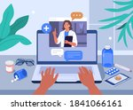 hands typing on laptop with... | Shutterstock .eps vector #1841066161
