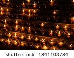 Candles Light In Dark Church. ...