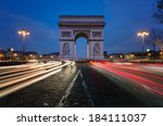 the arc de triomphe in paris at ... | Shutterstock . vector #184111037