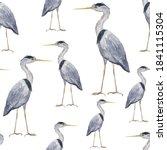 Seamless Pattern Grey Heron...