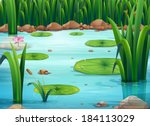 illustration of a pond with... | Shutterstock .eps vector #184113029