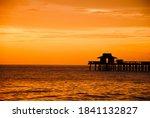 Orange Sunset In Naples  Florida
