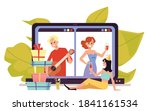 virtual online party with... | Shutterstock .eps vector #1841161534
