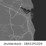 Urban city map of Gdynia. Vector illustration, Gdynia map grayscale art poster. Street map image with roads, metropolitan city area view.