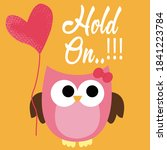 kids design toy owl with bow... | Shutterstock .eps vector #1841223784