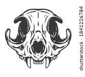 cat skull in monochrome hand... | Shutterstock .eps vector #1841226784