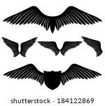 vector set. wings. | Shutterstock .eps vector #184122869