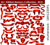 red ribbon banners collection... | Shutterstock .eps vector #184123091